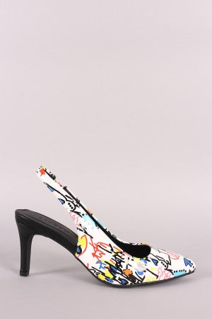 Bamboo Doodle Print Pointy Toe Slingback Low Stiletto Heel