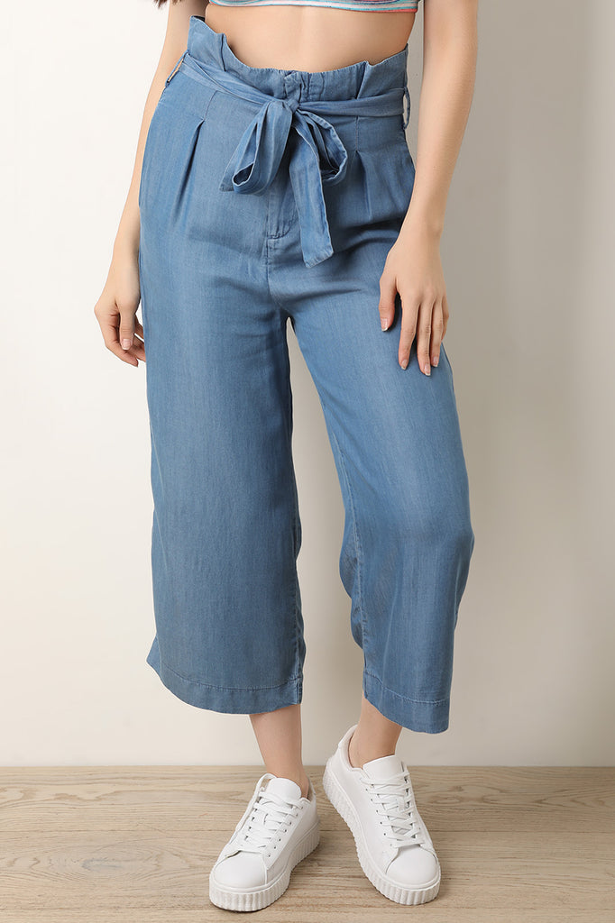 High Rise Chambray Waist Sash Wide Leg Capri Pants