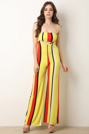 Striped Bandeau Top With Wide Leg Overall Pants Set