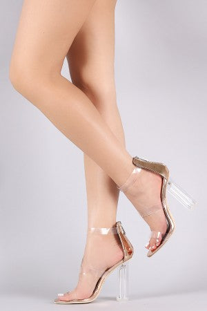 Transparent Triple Straps Patent Chunky Clear Heel