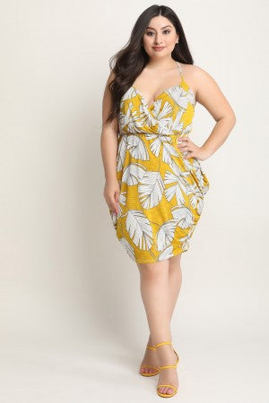 Leaf Print Surplice Side Drape Midi Dress