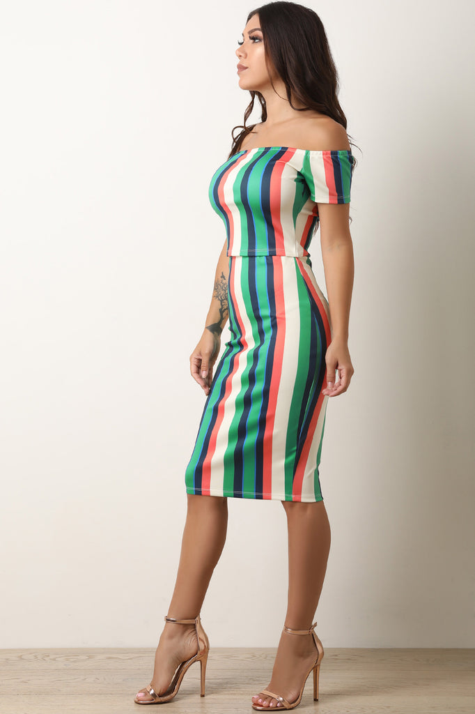 Striped Off The Shoulder Crop Top With Midi Skirt Set