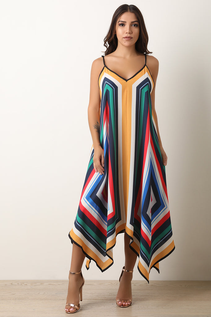 Colorful Striped Sharkbite Maxi Dress
