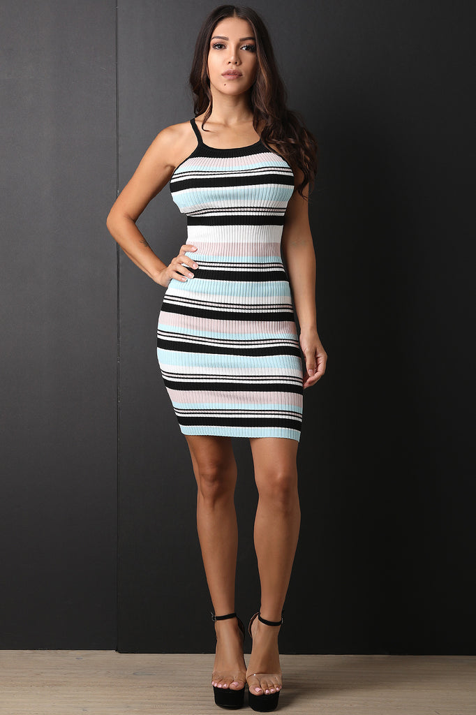 Striped Ribbed Knit Cutaway Bodycon Dress