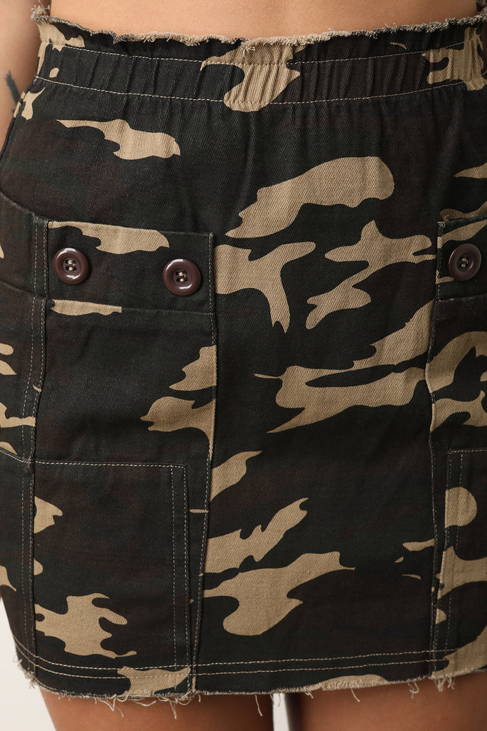 Camouflage Button Cargo Mini Skirt