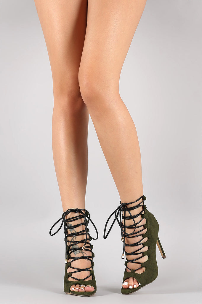 Liliana Suede Peep Toe Strappy Lace-Up Stiletto Heel