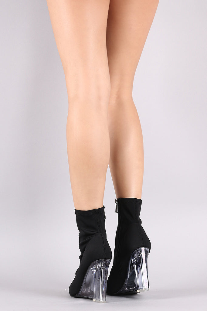 Fitted Elastane Pointy Toe Clear Wedge Boots
