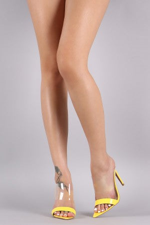 Patent Transparent Band Pointed Open Toe Stiletto Mule Heel