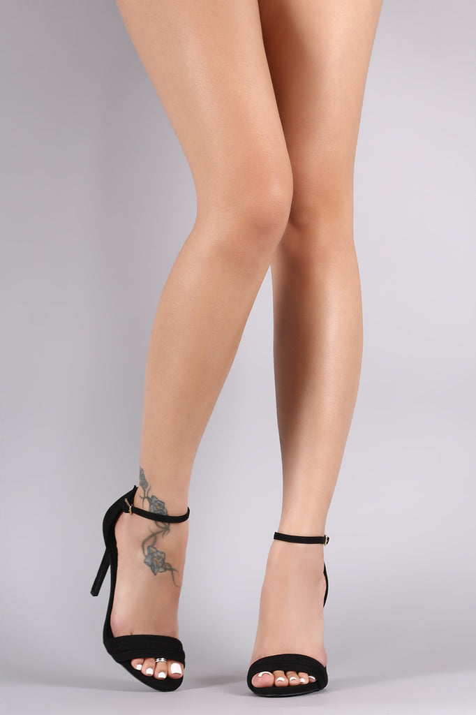 Qupid Suede Ankle Strap Stiletto Heel