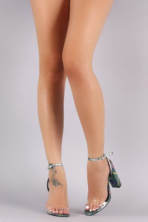 Holographic Snake Transparent Band Ankle Strap Chunky Heel