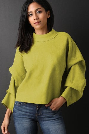 Suede Ruched Statement Sleeves Boxy Top