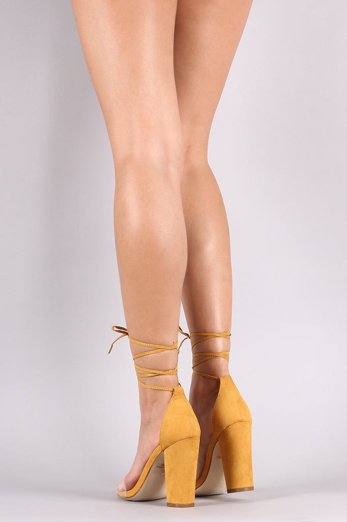 Suede Clear Band Ankle Wrapped Chunky Heel
