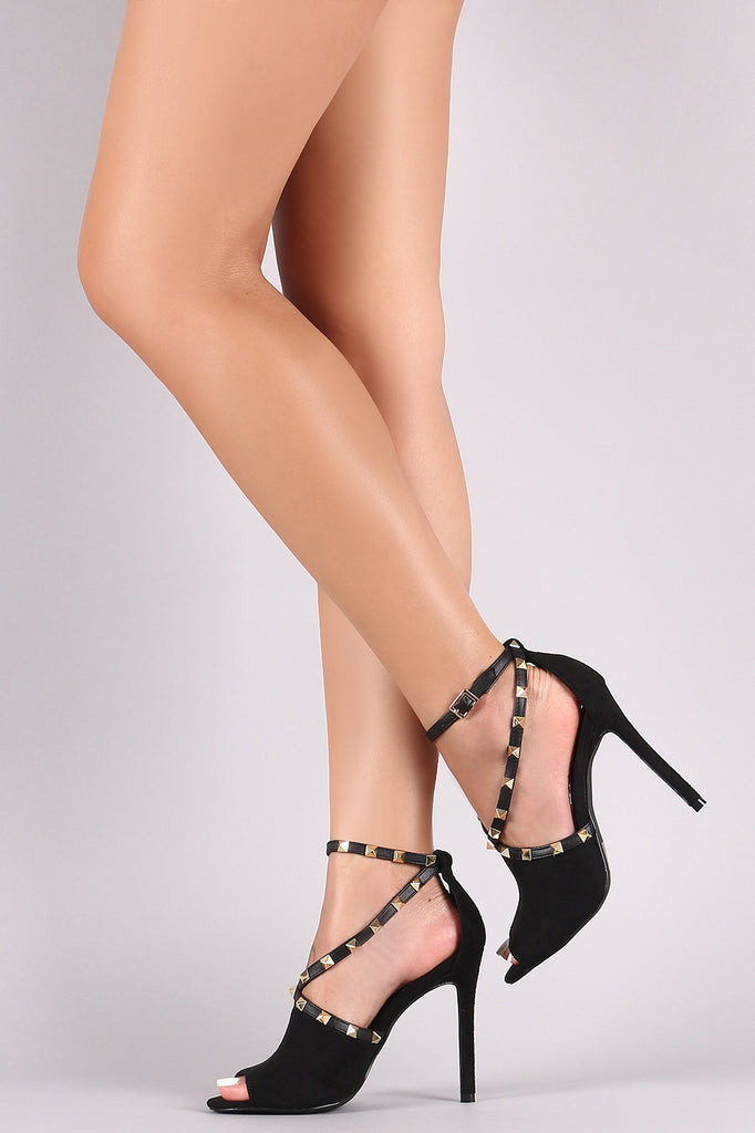 Studded Suede Peep Toe V-Strap Stiletto Heel