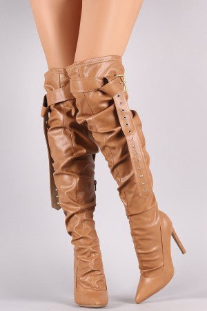 Liliana Belted Slouchy Pointy Toe Stiletto Heeled OTK Boots
