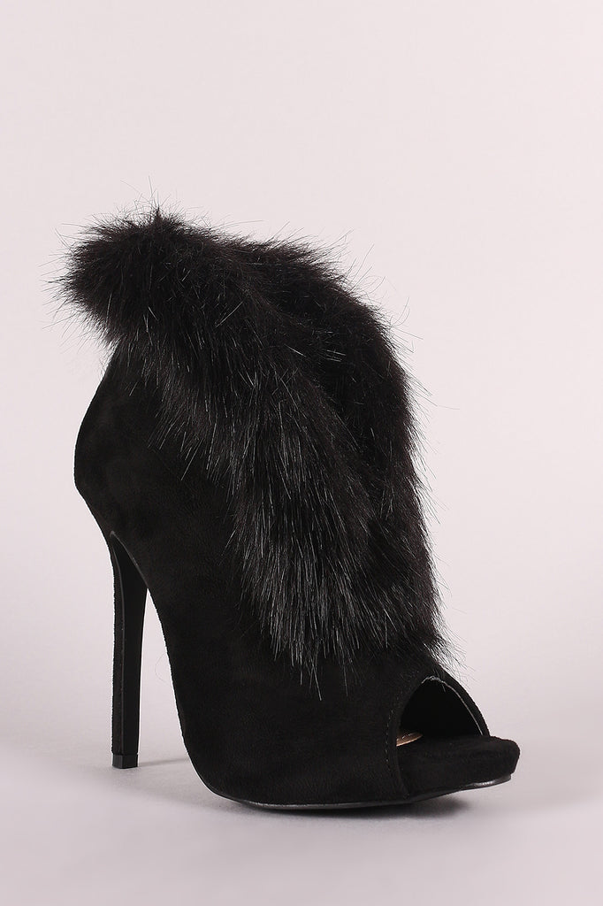 Liliana Faux Fur Trim Split-Front Peep Toe Suede Stiletto Booties