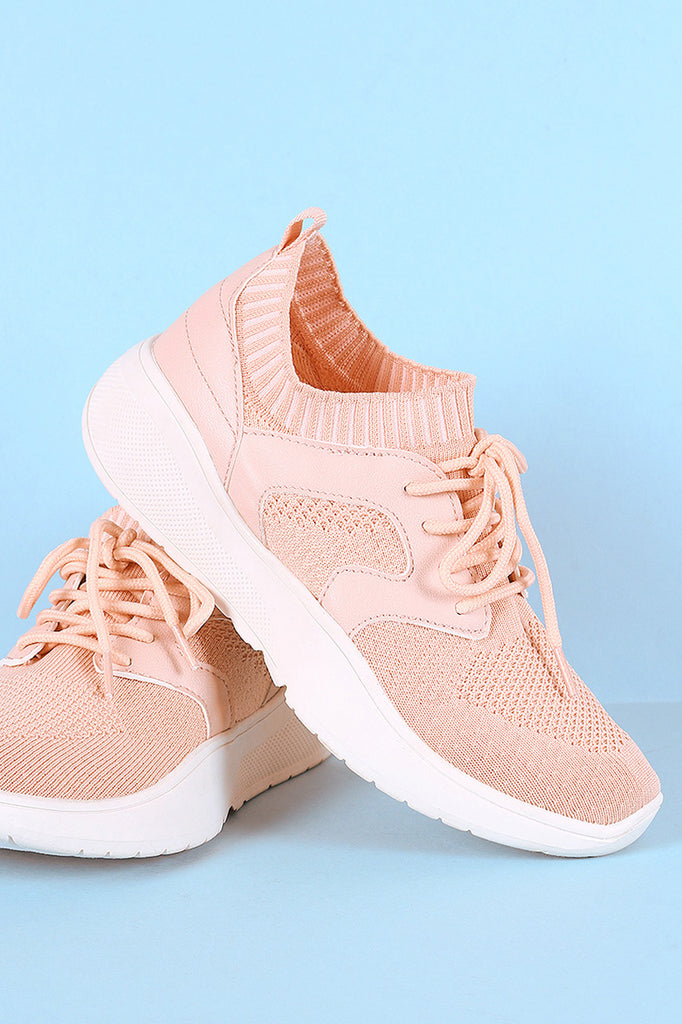 Qupid Stretchy Knit Round Toe Lace-Up Sneaker