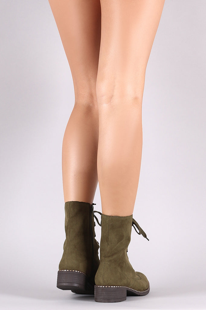 Bamboo Vegan Suede Stud Trim Sole Lace-Up Combat Boot