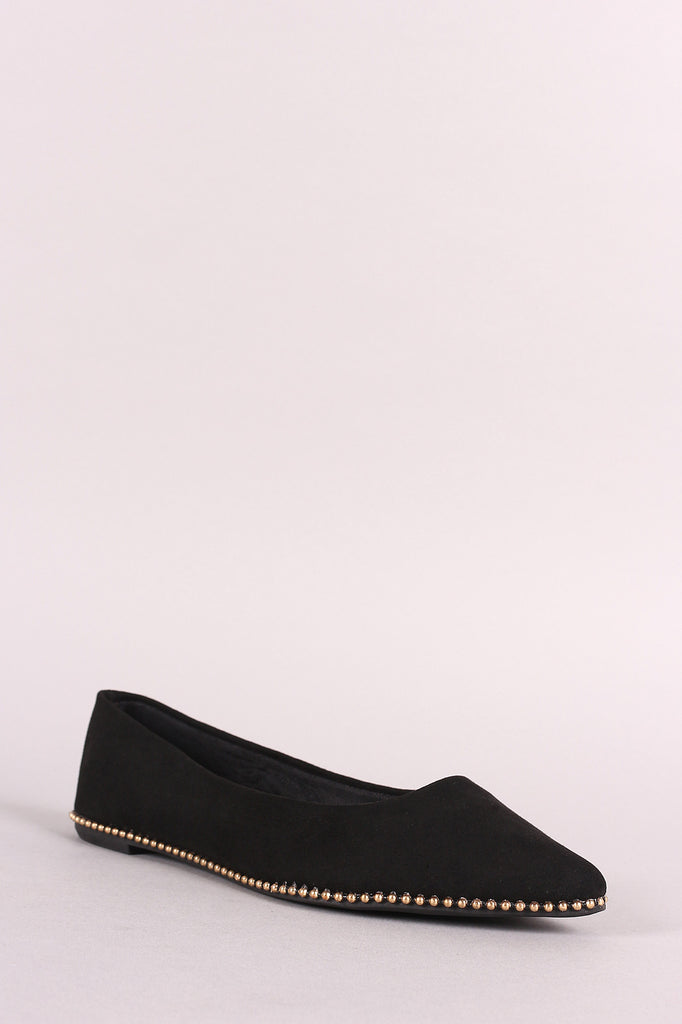 Bamboo Ball-Stud Trim Pointy Toe Flat