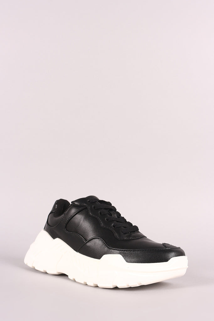 Round Toe Lace-Up Platform Sneaker