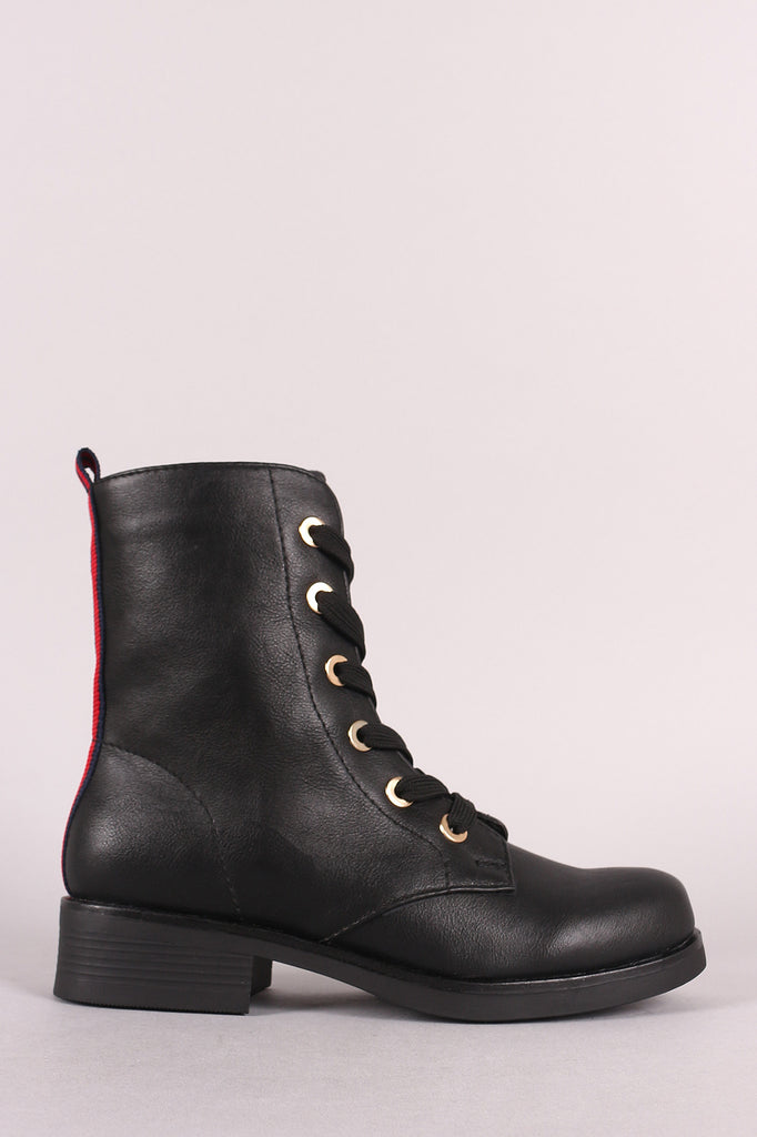 Qupid Ribbon Striped Pull Tab Lace-Up Combat Boot