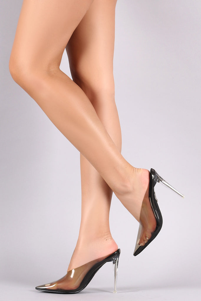 Transparent PVC Pointy Toe Stiletto Mule