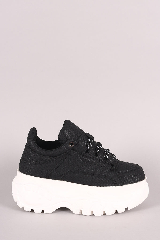 Lace Up Low Top Lug Sole Platform Sneaker