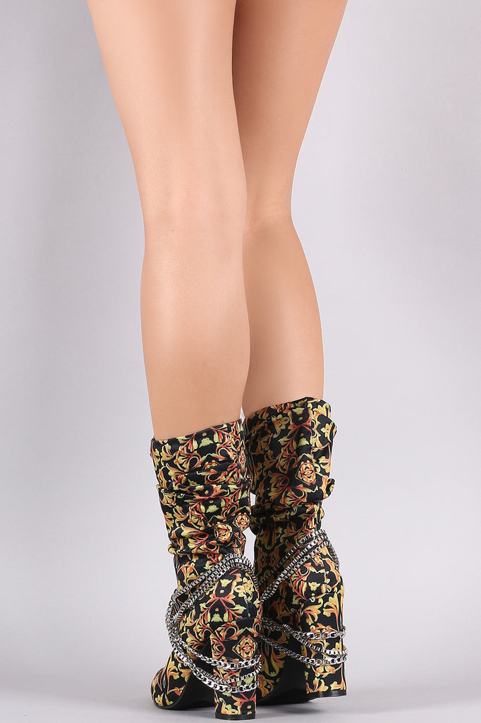 Slouchy Pointy Toe Chain Accent Chunky Heeled Boots
