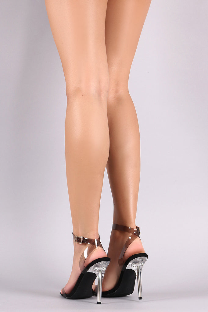 Liliana Transparent PVC Ankle Strap Open Toe Stiletto Heel