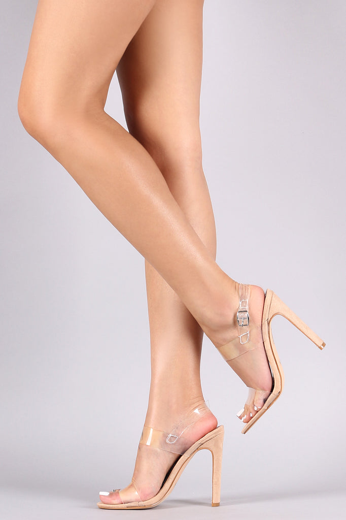 Transparent PVC Open Ankle Strarp Rectangle Heel