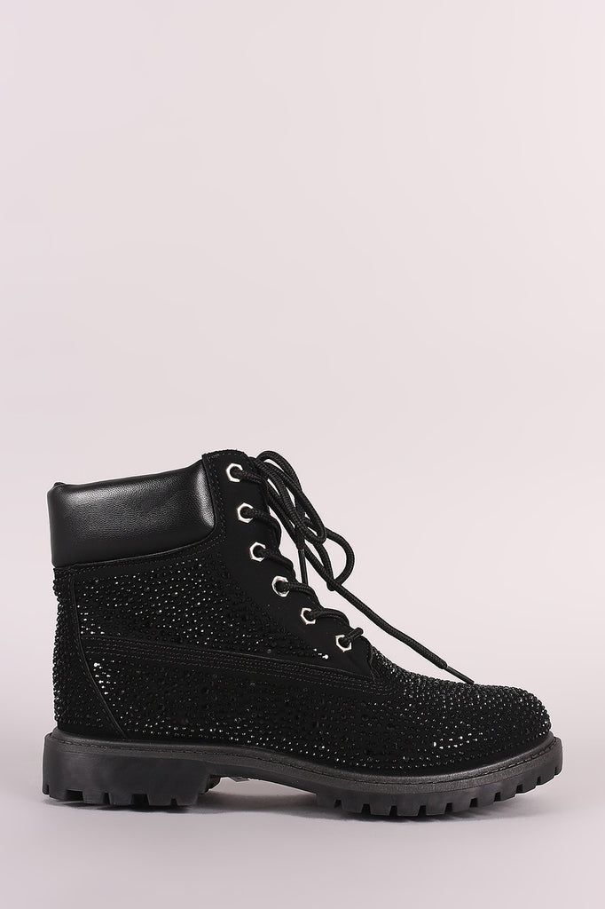 Bamboo Rhinestone Accent Lace Up Ankle Boots