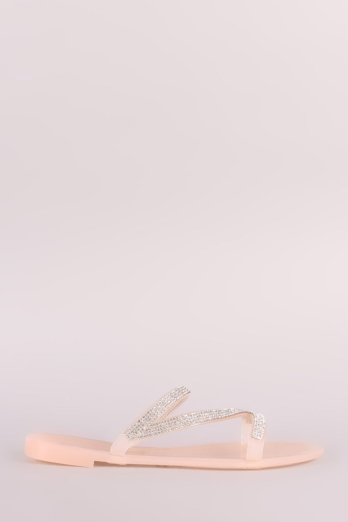 Liliana Strappy Rhinestone Accent Jelly Flat Sandal