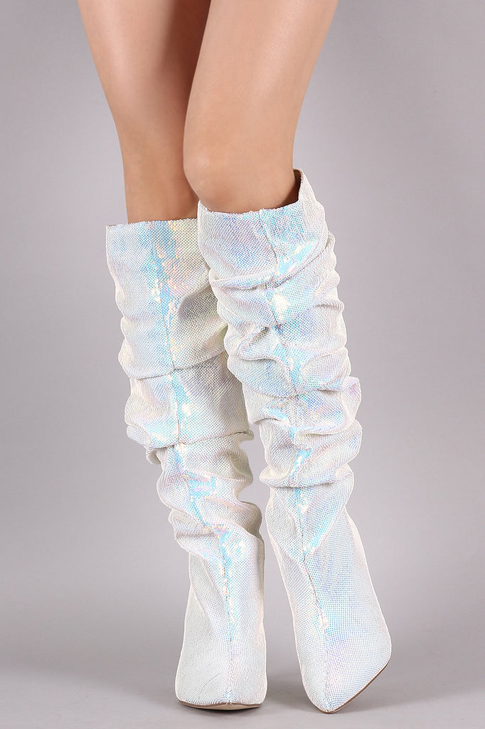 Holographic Sequins Slouchy Chunky Heeled Knee High Boots