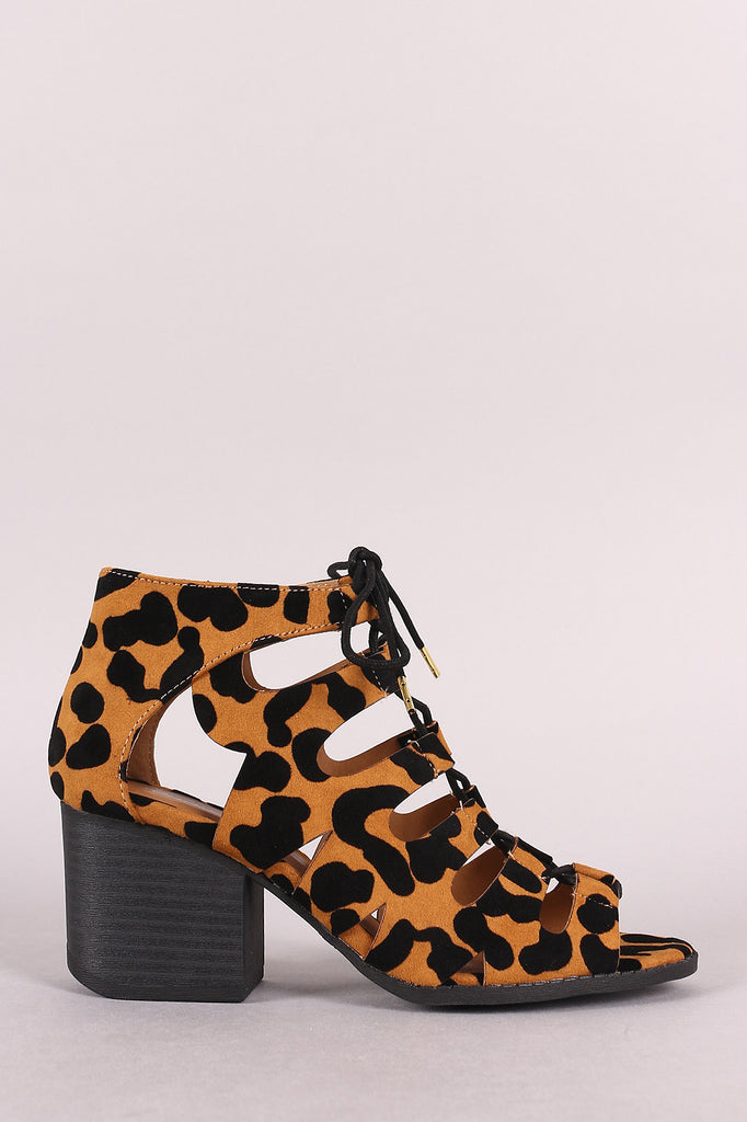 Qupid Peep Toe Lace Up Stacked Chunky Heel Booties