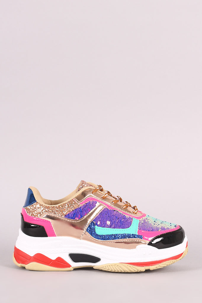 Sequins With Glitter Accent Lace-Up Platform Sneaker