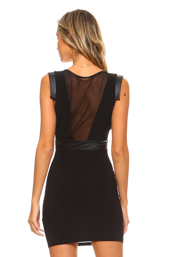 Women's Leather Detailed Bodycon Dress with Mesh Chest and Back
