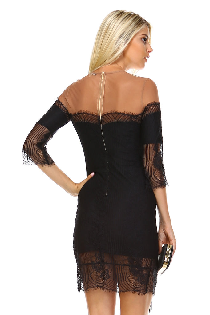 Women's Sheer Mesh Lace Dress