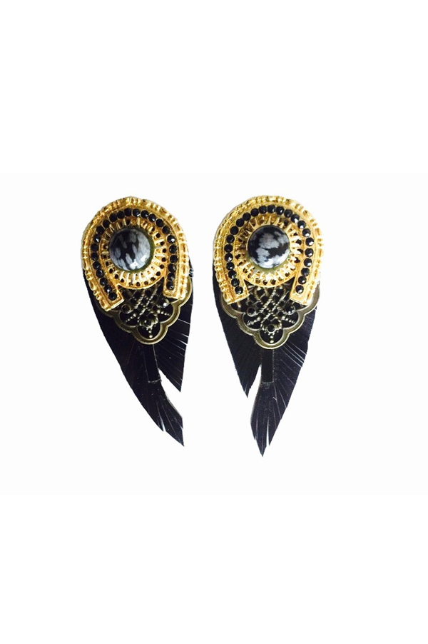 Black LEATHER FEATHERS Earrings - Rich Girl's Closet