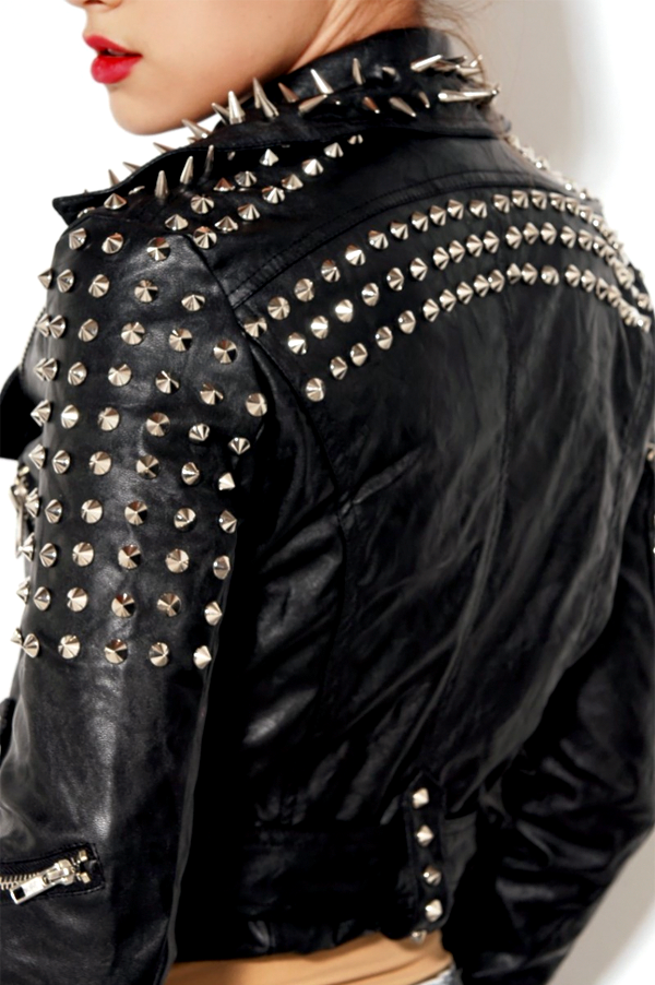 Moto Punk Rock Leather Spike Jacket – Rich Girl's Closet
