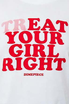 TrEAT Your Girl Right Crop Top / Tee - White - Rich Girl's Closet