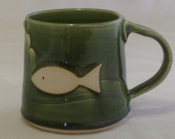 Fish Mug - Green - Poterie Ginette Arsenault - 4