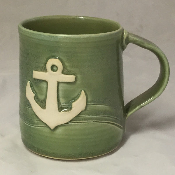 Anchor Mug - Green - Poterie Ginette Arsenault - 12