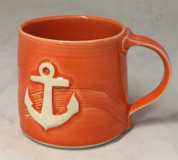Anchor Mug - Orange - Poterie Ginette Arsenault - 14