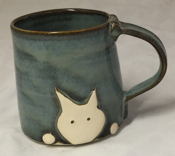 Cat Mug - blue - Poterie Ginette Arsenault - 7