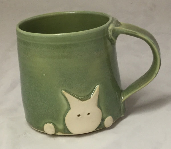Cat Mug - green - Poterie Ginette Arsenault - 8