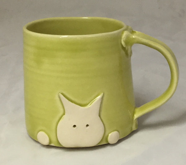 Cat Mug - lime - Poterie Ginette Arsenault - 9