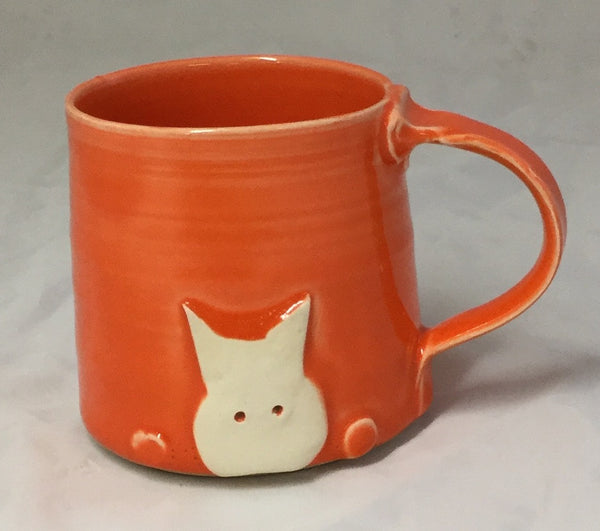 Cat Mug - orange - Poterie Ginette Arsenault - 10