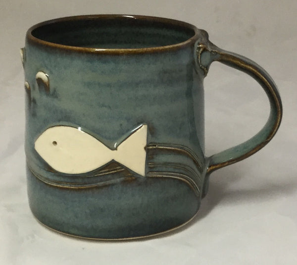 Fish Mug - Blue - Poterie Ginette Arsenault - 10