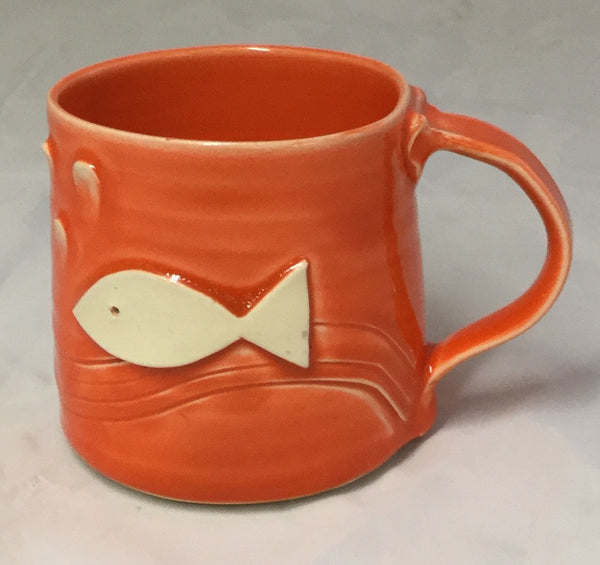 Fish Mug - Orange - Poterie Ginette Arsenault - 12