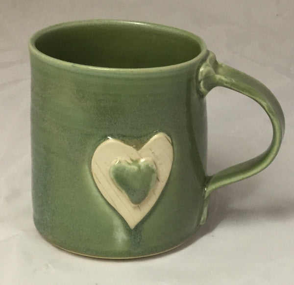 Heart Mug - Green - Poterie Ginette Arsenault - 7