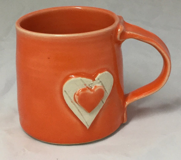 Heart Mug - Orange - Poterie Ginette Arsenault - 8